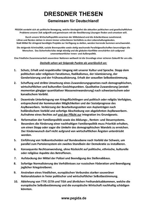 HAGIDA: ''Die 10 Dresdner Thesen symbolisch an die Marktkirche geschlagen''
