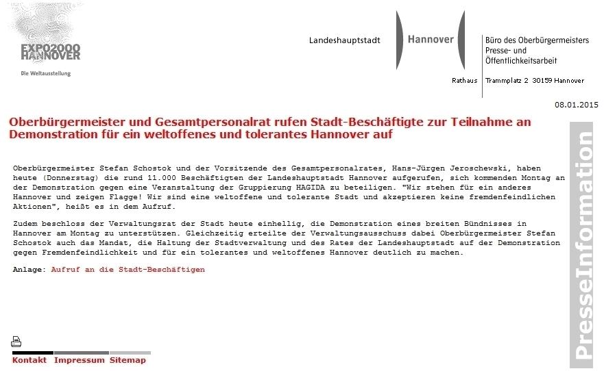 Hannover: Oberbürgermeister und Gesamtpersonalrat rufen 11.000 Stadt-Beschäftigte zur Teilnahme an Demonstration gegen HAGIDA auf