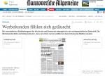 HAZ/NP-Artikel ''Werbekunden fühlen sich getäuscht'' über FREIE HANNOVERSCHE ZEITUNG und GUNTHER OBERHEIDE (Screencopy)
